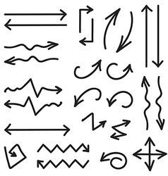 Black set of 26 hand drawn arrows in eps vector
