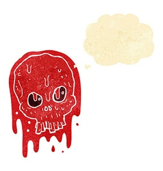 Cartoon bloody skull with thought bubble vector