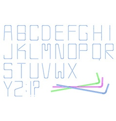 Isolated cocktail straw alphabet on white vector