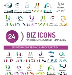 Large set of business line logos vector