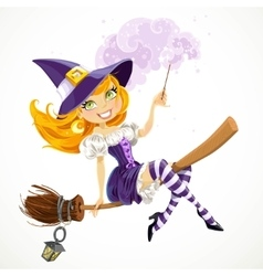 Cute redhead witch with magic wand flying on a vector