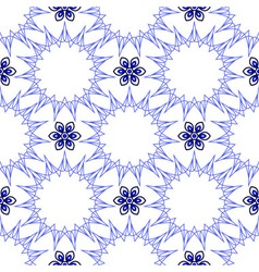 Seamless of blue fifteen angle stars and six petal vector