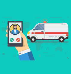 Call to doctor by phone vector