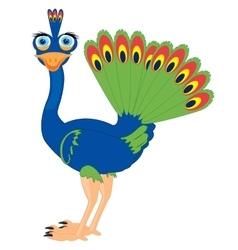 Cartoon of the bird peacock vector image