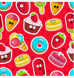 Cartoon sweets cute characters face background vector