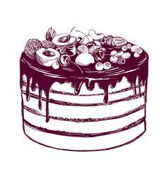 Fruit cake birthday dessert symbol of the vector