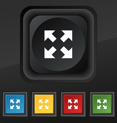 Full screen icon symbol set of five colorful vector