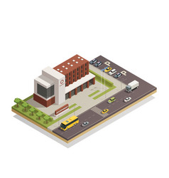 government building outdoor isometric composition vector image vector image