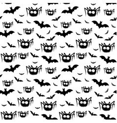 Halloween pattern of black spiders and bats vector