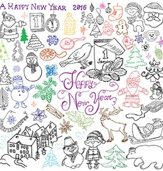 Hand drawn Sketch design of happy new year 2016 vector image vector image