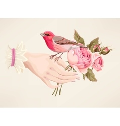 Hand with roses vector