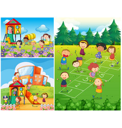 happy kids playing in playground vector image
