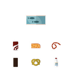 Icon flat food set of bottle cookie cheddar vector