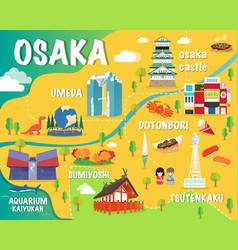 osaka map with colorful landmarks japan design vector image