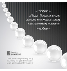 Pearl necklace on black vector image
