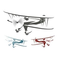 Retro airplane emblem set vector