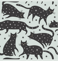 Seamless pattern black cats with stars vector