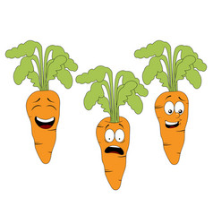Set of cartoon carrot character with different vector