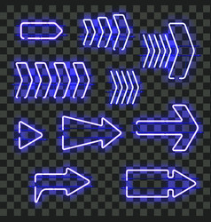 set of glowing blue neon arrows vector image vector image