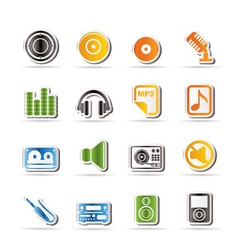 Simple music and sound icons vector