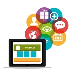 Tablet shop cyber monday with icons media vector