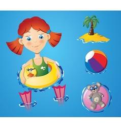 Water fun - girl vector image