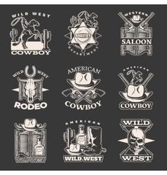 Wild west emblem set on dark vector