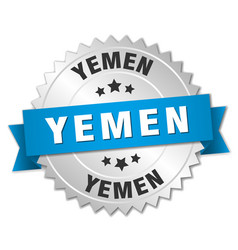 Yemen round silver badge with blue ribbon vector