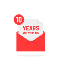 10 years anniversary icon in red letter vector image