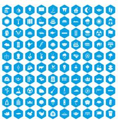 100 lotus icons set blue vector