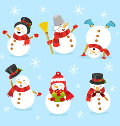 Cute snowman set vector
