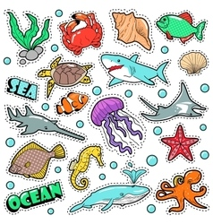 Marine life badges patches stickers vector