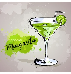 Hand drawn cocktail margarita vector