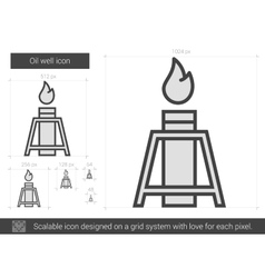 Oil well line icon vector