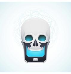 skull mobile phone vector image