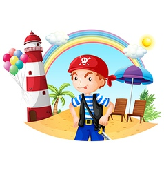 A pirate at the beach vector image