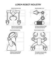 Black industrial robotic armed machines vector