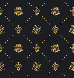 Baroque vintage background with golden ornament vector