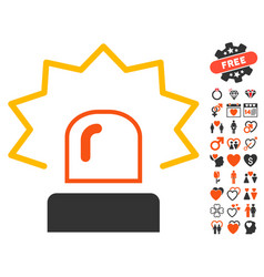 Emergency siren icon with love bonus vector