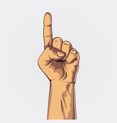 Hand showing one count pointing hand vector