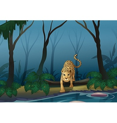 A leopard in the middle of the forest vector