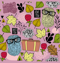 seamless pattern with hipster owl friends and vector image