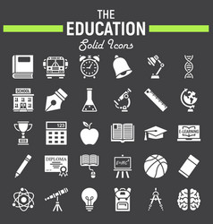 Education solid icon set school sign collection vector