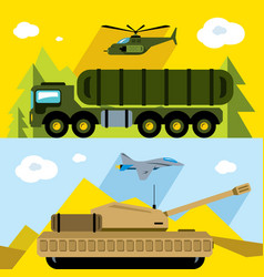 Set of russian military army flat style vector