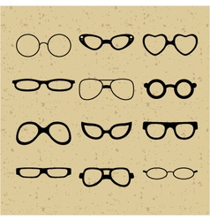 Set of different glasses on the background vector