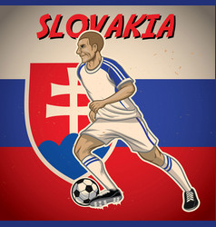 Slovakia soccer player with flag background vector