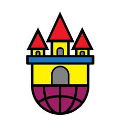 Flat color castle icon vector
