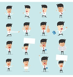 Set of cartoon businessman with many character for vector