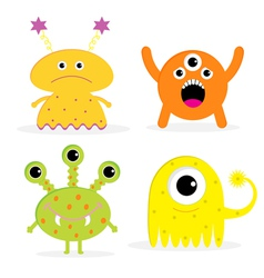 Set of four cute cartoon monsters isolated vector