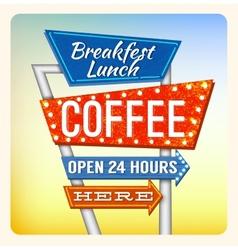 Retro Neon Sign Breakfest Coffee vector image